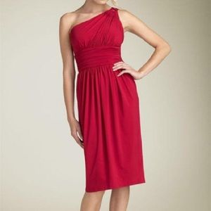 Maggy London Red One Shoulder Ruched Dress 10